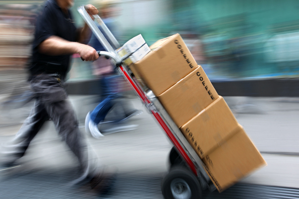 delivery goods with dolly by hand